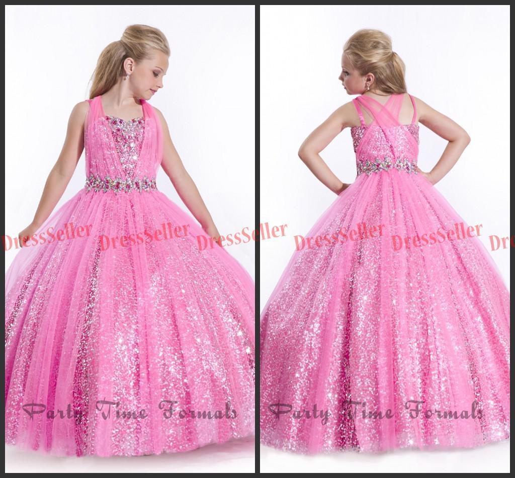 Compre Bling Bling Niñas Vestidos Del Desfile De Vestidos Del ...