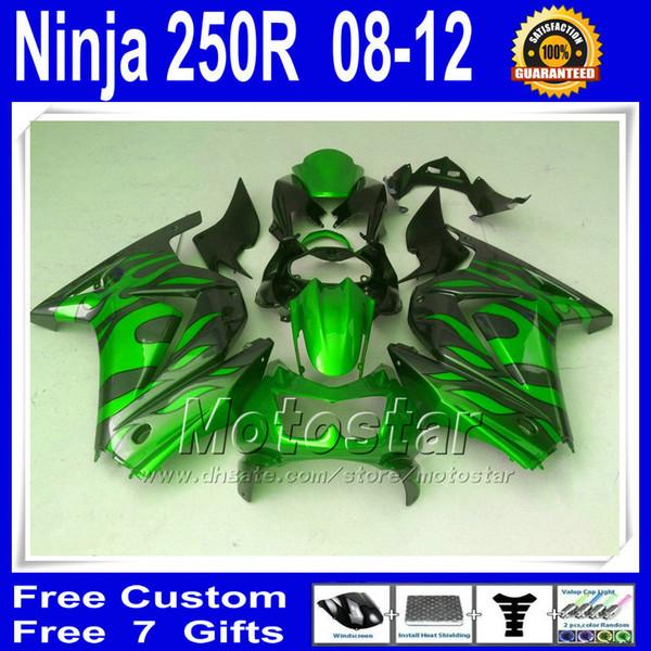 Fairings kit + tank cover for kawasaki Ninja 250r 2008 2009 2010 2011 2012 green black Fairing set ZX250R EX250 vb45 7 Gifts