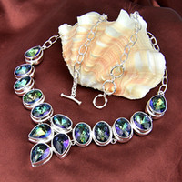 Wholesale Dragon Power - New Arrival Real Tennis, Graduated Mexican Women's Dragon 925 Sterling Silver Natural Stone Mystic Topaz Crystal Necklace Jewelry N0096