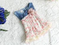 Wholesale Denim Splicing Chiffon Dress - New Design Girl Dresses 32709 Children Clothes Denim Chiffon Splicing Sundress For Girl