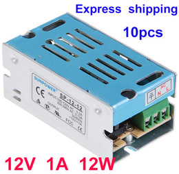 Wholesale Driver 1a - 12V 1A 12W DC Switch Power Supply Driver adapter Led strip light transformer 10pcs Lot DHL Free shipping High Quality
