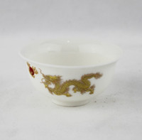 Wholesale Chinese Porcelain Tea Cups Wholesale - Factory Price- Chinese Ceramic 30ml Tea cup Porcelain Tea Set Mini Chinese Tea Cups Novelty Items Gongfu White Gold Dragon Tea Cup