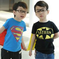 Wholesale Boys Short Sleeve Superman Top - hot sale summer new baby boys superman batman shirts tops boys short sleeve balck & blue t shirt Children's Shirts 2-8T,5pc lot melee
