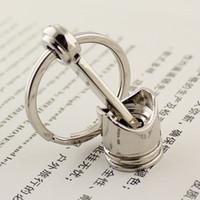 Wholesale Engine Key Chain - New Arrive Trendy Car Engine Silvery Piston Key Ring Chain Keychain Key Fob Pis