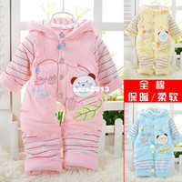 Wholesale Newborn Baby Winter Jacket - Baby bodysuit autumn and winter male supplies thickening outerwear newborn clothes cotton-padded jacket romper open file winter