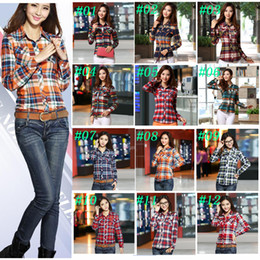 Wholesale Women Xl Flannel Shirt - New Fashion Women Button Down Lapel Casual Shirts Girl's Vintage London Plaids & Checks Flannel Cotton OL Tops Shirts Worldwide Shipping