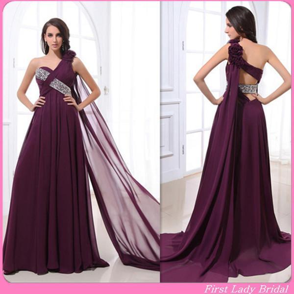 Designer Burgundy Evening Gowns One Shoulder Beaded A Line Long ...