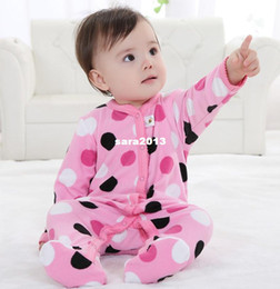 Wholesale Baby Footed Rompers Fleece - Polka Dot Baby Rompers Fleece Foot Cover Baby Bodysuits Toddler Pajamas W151