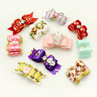 Wholesale Show Dogs Wholesale Supplies - Handmade Pets Grooming Accessories 20Pcs lot Mixed Ribbon Hair Bow Dog Rubber Bands Hair Bows, Dog Show Supplies.