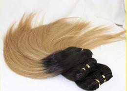 Oxette malaio on-line-Oxette 3 pacotes Malaio # 1b # 27 dois tons ombre humano trama de seda em linha reta cabelo humano virgem tece 3 pacotes por lote
