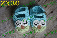 Wholesale Owl Crocheted Baby Shoes - 20pairs Free shipping handmade crochet baby shoes kids cute Owl infant knitted booties 0-12M cotton yarn custom