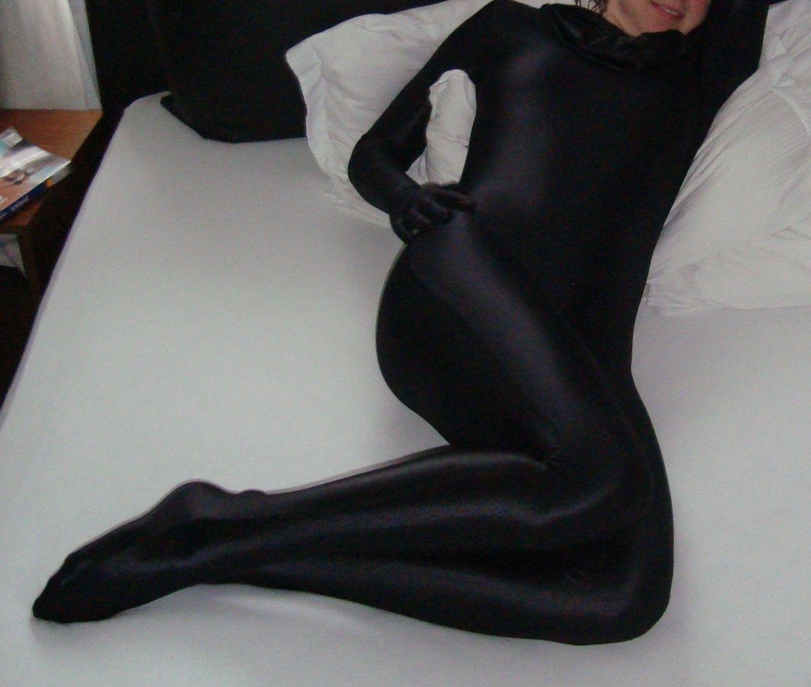 2018 Black Nylon Spandex Leotard Catsuit Unitard Zentai