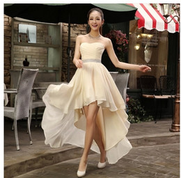 Wholesale Chiffon Vintage Strapless Wedding Dresses - Hot new superior quality Bridal gown wedding dress evening back Long and frond short front Bra dress lace up back 940