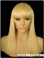 pelucas rectas de longitud media rubia al por mayor-Moda Cleopatra estilo de longitud media rubia / color oro peluca de pelo Nacional Mujeres venta caliente pelucas de pelo recto envío gratis