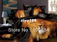 Wholesale Lion King Comforter - please tell me the style!NEW hot lion comforter set cover,500TC 100% 4pc bedding sets without filler,gold king of lion animal bedding sets q