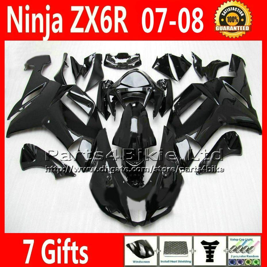 7 Gifts Fairings for Kawasaki ZX6R 2007 2008 Ninja 636 fairing kit ZX636 07 08 ZX6R all glossy black custom ZX-6R motobike UH9C