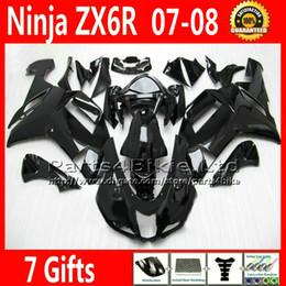 Wholesale Kawasaki Ninja 636 Custom - 7 Gifts Fairings for Kawasaki ZX6R 2007 2008 Ninja 636 fairing kit ZX636 07 08 ZX6R all glossy black custom ZX-6R motobike UH9C