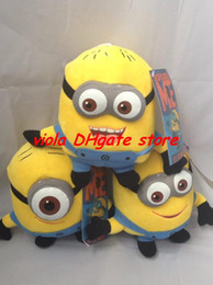 """Wholesale Despicable Stewart Toy - Retail 100pcs Despicable ME Movie Plush Toy 7 inch """" 17cm Minion Jorge Stewart Dave with tags 3D eyes"""