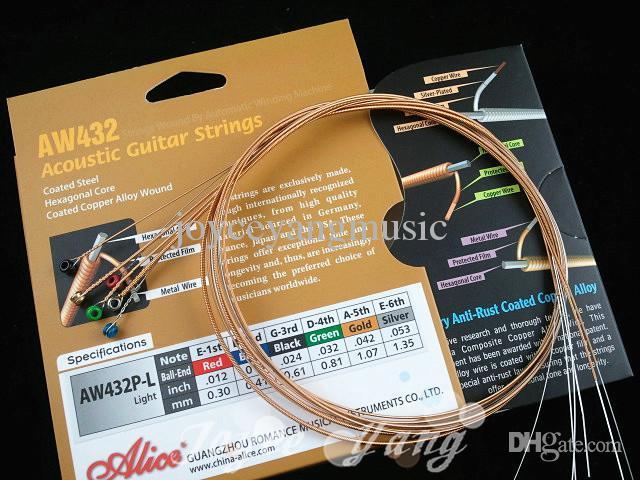 Alice Aw432-l Färgglada boll-end akustiska gitarrsträngar pläterade stål 1: a-6: e strängar Gratis frakt grossist