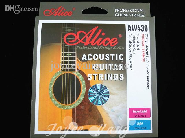 Alice Aw430 Superljus Akustiska gitarrsträngar pläterade stål 1: a-6: e strängar grossistfri frakt