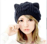 Wholesale Cat Ear Ladies Hat - Free shipping fashion Korean Women lady Devil horns Cat Ear Crochet Braided Knit Ski Beanie Wool Hat Cap winter warm beret