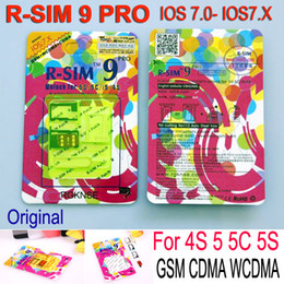 Wholesale Gpp Unlocking Card - Original R-SIM 9 RSIM 9 Unlock for iPhone5S 5C 5G 4S RSIM9 pro IOS 7 GPP IOS7 7.0.1 7.0.2 7.0.4 RSIM 9 PRO Docomo AU Sprint Verizon T-MOBILE