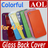 Wholesale Wholesale Iphone 4s Backs Colors - AAA Quality Colorful Glass Back Housing For iphone 4 4G Battery Cover Assembly for iPhone4 4s 8 Colors choose Mix order