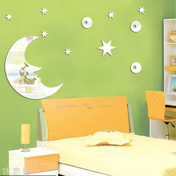 free shipping moon and stars children\'s room mirror wall sticker ...