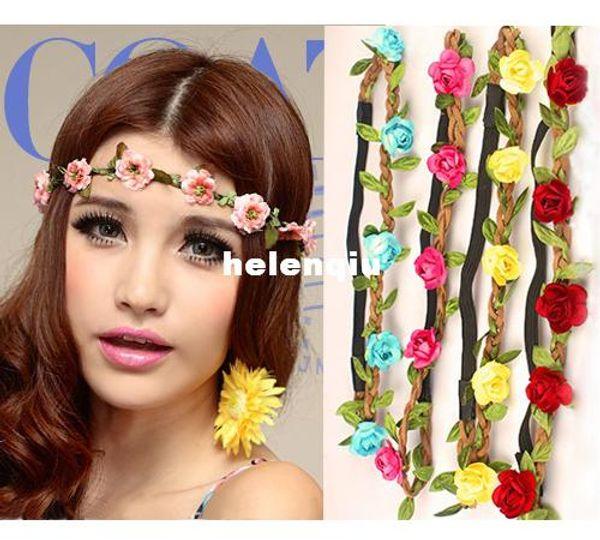 Bandeau Bohème en gros pour les femmes Fleurs tressé en cuir Bandeau élastique pour bande de cheveux de dames couleurs assorties ornements de cheveux bandeau
