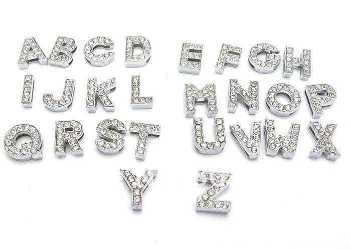 Alphabet de A à Z 8mm 10mm / 0-9 Nombres Curseur en Alliage de Zinc Lettre Charmes Symbole Complets Strass Mixé