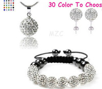 Wholesale Disco Ball Bracelets Set - New Style!10mm white cheap Hot clay disco ball Beads Bangles hotslae Crystal Shamballa Bracelet earring necklace set women jewelry Gift