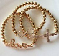 Wholesale Sideways Cross Infinity Bracelets - Lowest Price! plating Gold Sideways Love- Hope-Cross- Infinity Bracelet Rhinestone Crystal Handmade Bracelet Adjustable women jewelry Gift