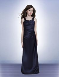 Wholesale Royal Blue Color Code - flower girl dresses A Line Shoulder belt floor length fold satin dresses Standard code NewYear 2014 Free shipping Hote sale