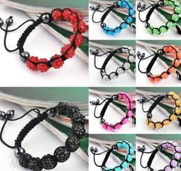 Wholesale Disco Ball Resin - Lowest Price!10mm Hot Disco Ball Bracelets Resin Crystal Beads Bracelets Hematite Beads Bracelet Adjustable women jewelry Gift