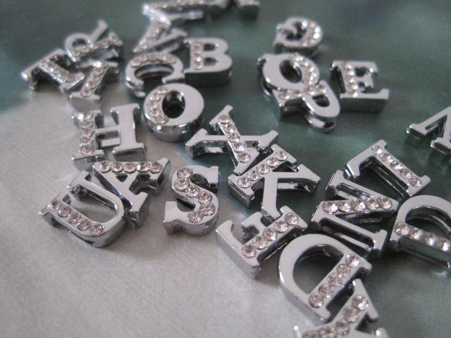 8mm DIY Alloy Slide Half Rhinestone Letters Symbol Alphabet From A-Z