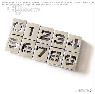 8mm DIY Alloy Slide Squre Letter Charms Hollowed A-Z / 0-9 Alphabet And Numbers