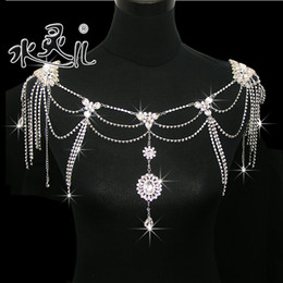 Hot Sell High Quality Bride Shoulder Chain Bridal Beads Wraps Bride Wedding Necklace Bridal Jewelry Free Earrings N302005