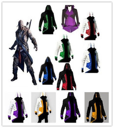 Barato Detalhe Cosplay Anime-Detalhes sobre Assassin's Creed 3 Connor Kenway Hoodie Jacket Coat Cosplay Costume SZ: 2XS-3XL