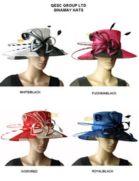 Wholesale Royal Hats For Women - Formal Sinamay Hat for Derby,wedding races church.4 colors,black fuchsia,red ivory,royal black,white black.4pcs lot,free shipping by EMS