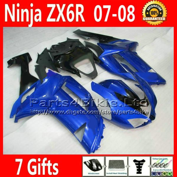 Verkleidungskits für 2007 2008 Kawasaki Ninja ABS Verkleidungen Kunststoff Karosserie Set blau schwarz ZX-6R ZX 6R ZX636 07 08 ZX6R 636 XR38 +7 Geschenke