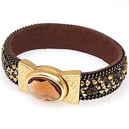 2019 arte jóias de pressão pulseira de couro autêntico, magnético Reunindo bracelete / pulseira com cristais blingbling, pulseira de couro projetado única e pulseira