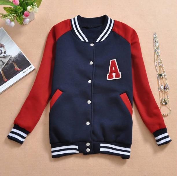 21a2d905f2 2014 New Fashion Autunm Women A Letter Varsity Sport Jacket Mandarine  Baseball Coat Fashion Long Sleeve