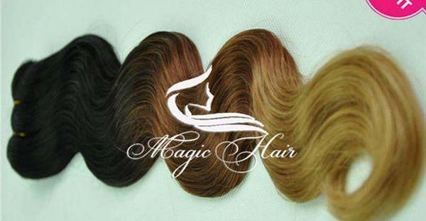 Oxette 5A 1b / # 33/27 # ombre colore tre 3 toni di colore dell'onda del corpo vergine brasiliana estensione della trama dei capelli umani brasiliani
