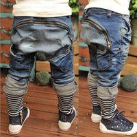 Wholesale Harem Children Jeans - Free Shipping Spring Baby Boys Zipper Jeans Cowboys Casual Harem Pants Blue Jeans Striped Denim Pants Kids Trousers Toddler Children Jeans