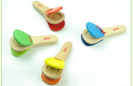 Wholesale Children Instruments Wholesale - wooden handle castanet child musical instrument orff knock instrument toy