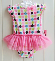 Wholesale Little Princess Baby One Piece - Dots rompers little girls tutu princess gazuse rompers summer jumpsuit bodysuit baby one piece clothes