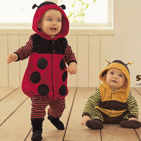 Wholesale Bee Costume Toddler - 2014 polar Fleece Baby Rompers Ladybug Bee Costumes toddler Bodysuits Tights Winter baby Clothes 1pcs lot