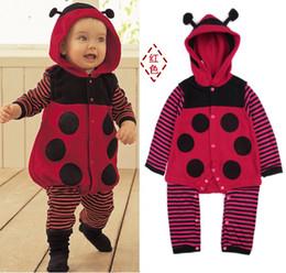 Wholesale Ladybug Body - Polka Dot Ladybug Fleece Baby Rompers Body Warmers Hoodies Romper Retail 1pcs lot HOT SALE