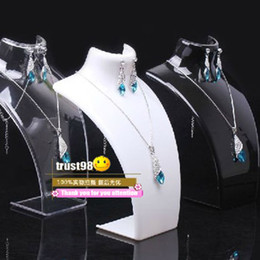 Wholesale Necklace Mannequins - Earring Necklace Jewelry Set Neck Model cheap Resin Acrylic Jewelry stand Mannequin Have 3 color bracelets Pendant Display Holder