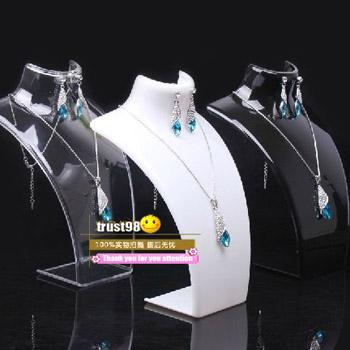 Brinco Colar Conjunto de Jóias Modelo de Pescoço barato Resina Acrílico Jóias stand Manequim Tem 3 pulseiras de cor Titular Pingente de Exibição